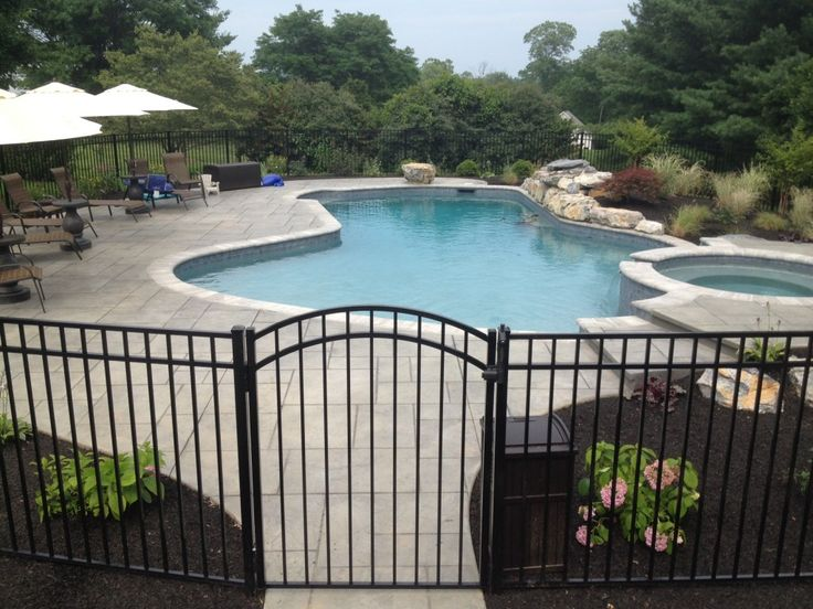 Aluminum fence around pool