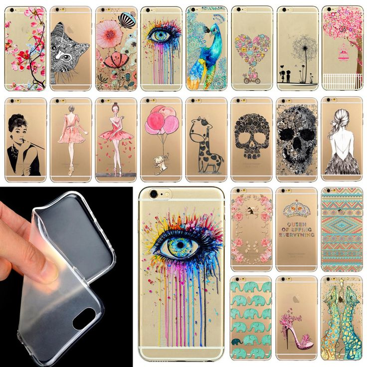 """Phone Case Cover For iPhone 6 4.7"""" Ultra Soft Silicon Transparent Cute Shoes Girl Flowers Animals Patterns Free Shipping Mix"""