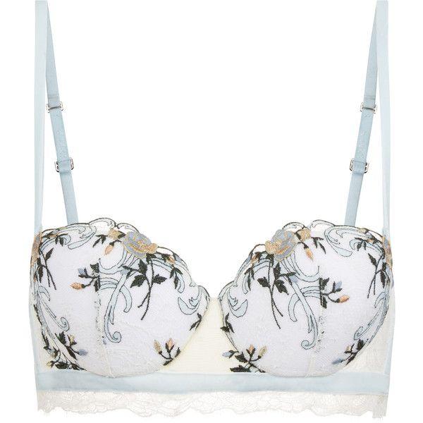 La Perla Hampton Court Off-White Padded Bandeau Bra In Embroidered... ($710) ❤ liked on Polyvore featuring intimates, bras, padding bra, floral bra, bandeau bra, lacy bras and la perla bra
