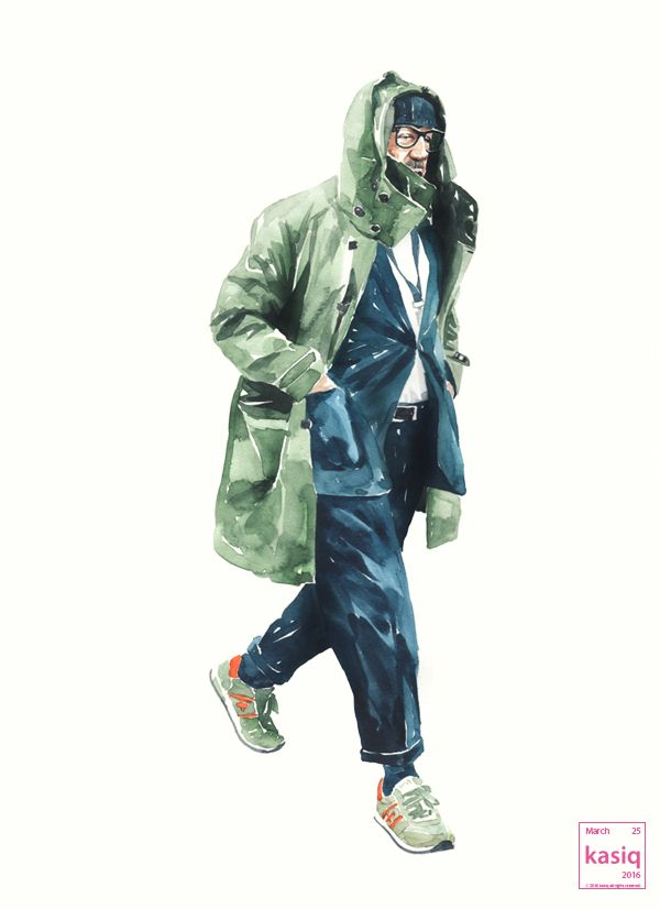 20160325 watercolor on paper by kasiq #fashion #sketch #style #pittiuomo #classic #watercolor #painting #kasiq #illustration #street #art #artwork #fashionillustration original photo by Dan Robers