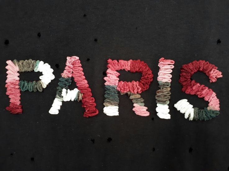 "Machine  embroidery  Software  v8 Couching font ""Paris"" T shirt"