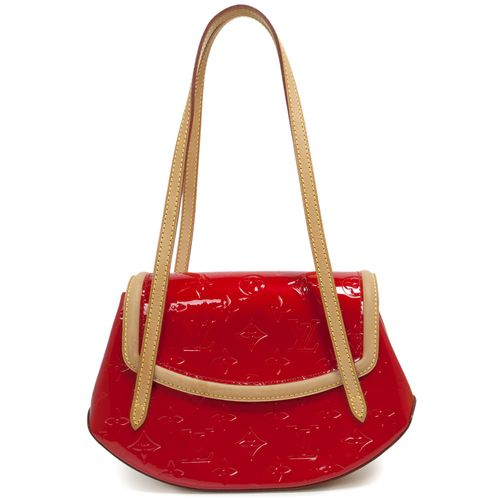 """Louis Vuitton Red Vernis Biscayne Bay PM.  CONDITION: Good.  Patina and light marking throughout vachetta leather.  Material: Vernis patent leather Color: Red Date Code: TH0044 Exterior Features: Leather shoulder straps, flap opening with magnetic closure Interior Features: Red fabric lining, open pocket Measurements: 10"""" x 7"""" x 3"""" Included: Louis Vuitton dust pouch SKU: HA02089"""