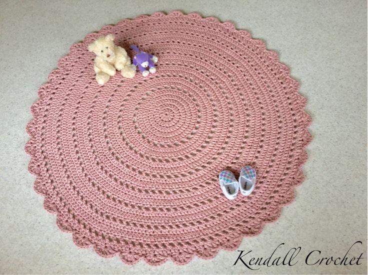 Crochet Doily Rug TShirt Yarn 115cm