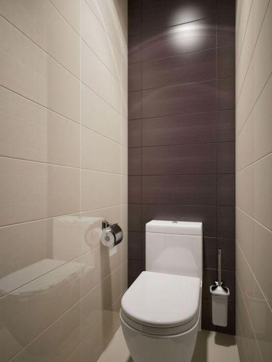 Маленький размер туалета можно зрительно перекрыть вытянутой горизонтально плиткой. Посмотрите на фото: на самом деле, места там куда меньше, чем кажется.