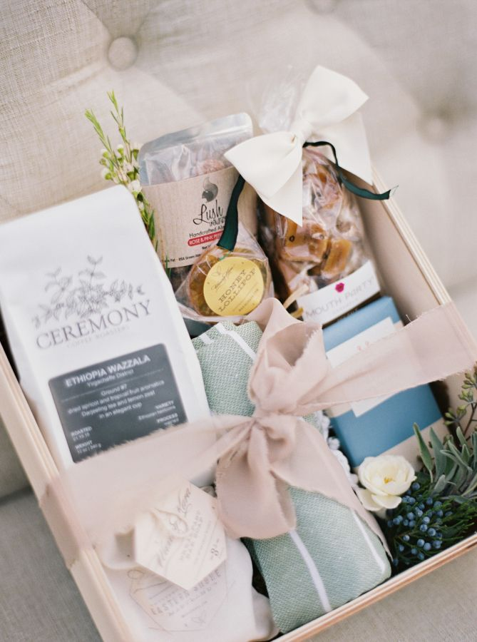 Wedding ceremony welcome box: http://www.stylemepretty.com/maryland-weddings/churchville/2016/01/28/romantic-violet-smokey-charcoal-wedding-inspiration/ | Photography: Amelia Johnson - http://www.amelia-johnson.com/