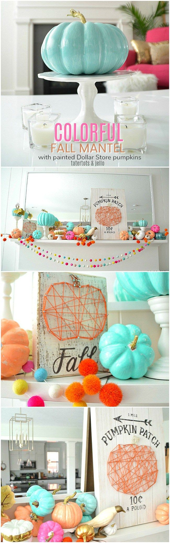 Paint inexpensive dollar tree pumpkins a bright color for happy fall mantel décor.