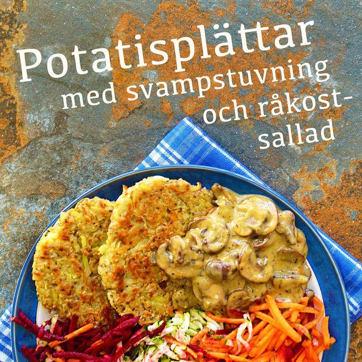 Potatisplättar med svampstuvning och råkostsallad! Receptet finns i meny 27. 😊  www.allaater.se