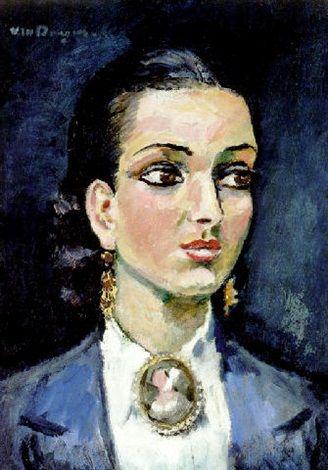 Fashion inspiration. Woman with brooch. Kees van Dongen - Jeune femme au médaillon.