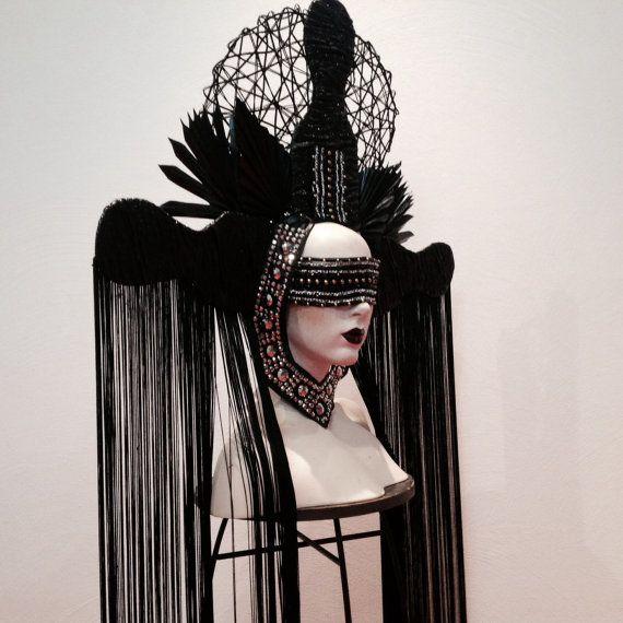 READY TO SHIP bohemian gypsy queen Gothic Nior Black goth Cyber Futuristic gaga gothic vampire raven Fantasy headdress headpeice wig