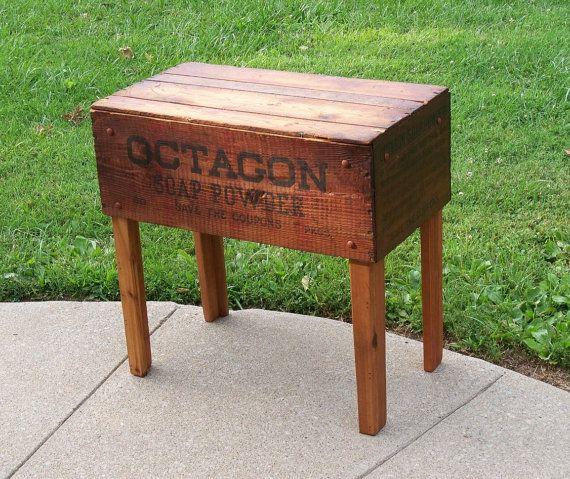 Primitive upcycled Shipping caisse TABLE octogone savon poudre boîte en bois et renouvelé