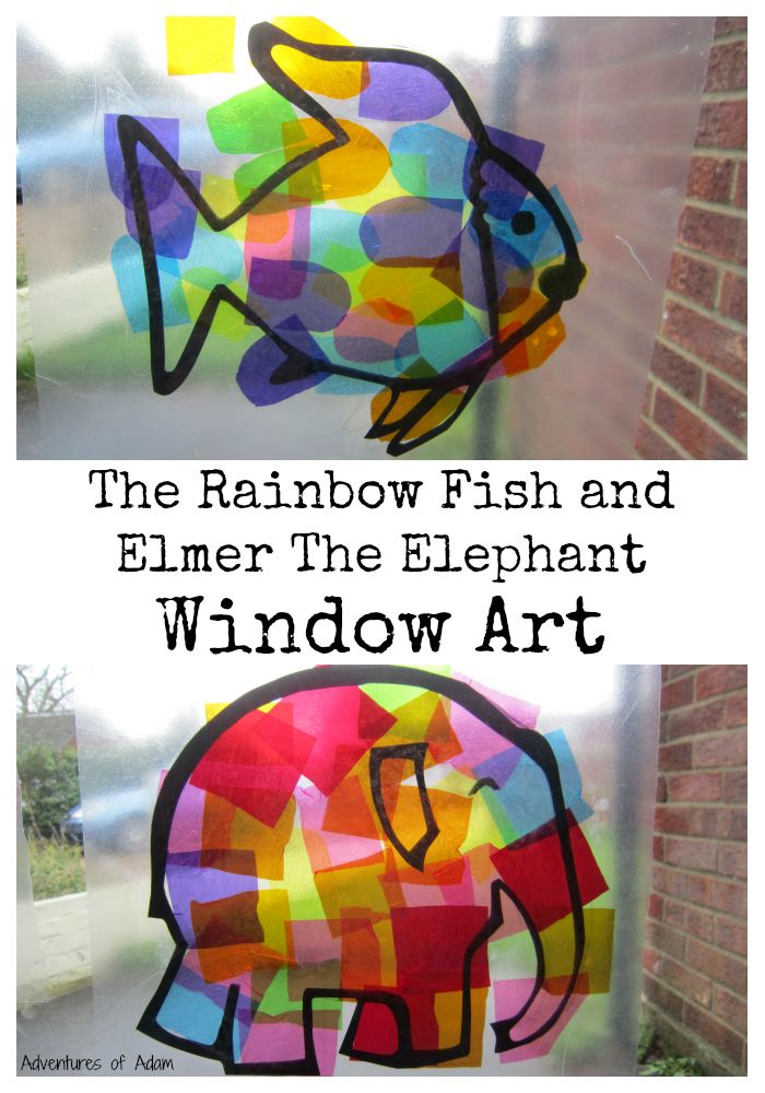 When creating an art masterpiece the window does not seem an obvious location. Wecreated Window Art inspired by The Rainbow Fish and Elmer The Elephant.
