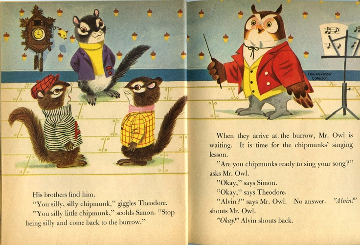 """The Chipmunks' Merry Christmas"" Little Golden Book from 1959 was one of the earliest pieces of Alvin and the Chipmunks memorabilia. This was written by David Corwin and illustrated by Richard Scarry. Alvin and the Chipmunks were the creation of musician Ross Bagdasarian, Sr., and debuted in 1958."
