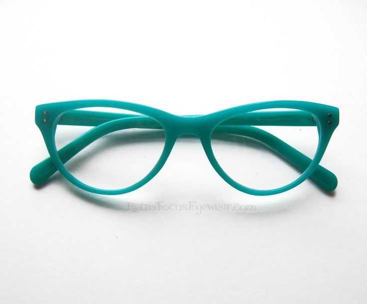 Wicked Cat Eyes - Neon Cat Eye Reader | Retro Focus Eyewear Aqua or Turquoise Reading Glasses. Perfect for this year's trending neons. Available in Crayola Mint Green, Turquoise/Aqua, Black, Hot Pink. Perfect optical quality acetate frame where you can have your own RX put into them. Meow.....