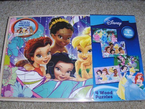 Disney 4 Wood Puzzle Set Princesses, Tinkerbell, Minnie Mouse Puzzles