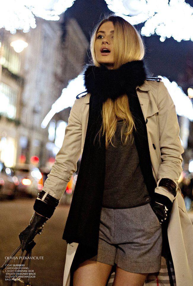 Weather forecast: Cold Conditions & Hot Fashion  Wearing: Burrbery coat | Stefanel cardigan | Christian Dior t-shirt | Designer made shorts | Christian Dior gloves | Prada bag