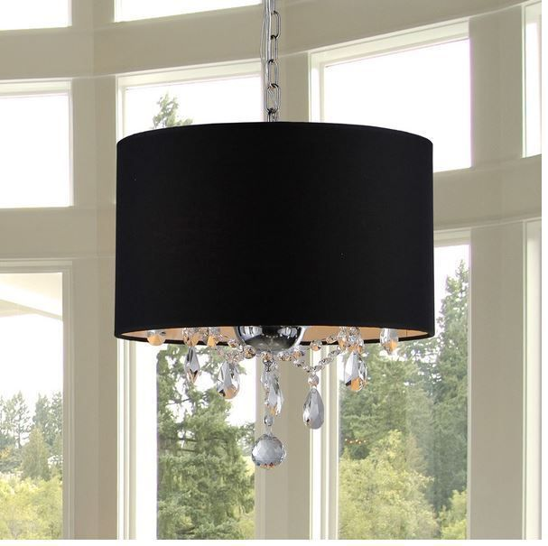 Crystal Chandelier with Shade Drum 3 Light Pendant Ceiling Lamp Lighting Fixture  | eBay