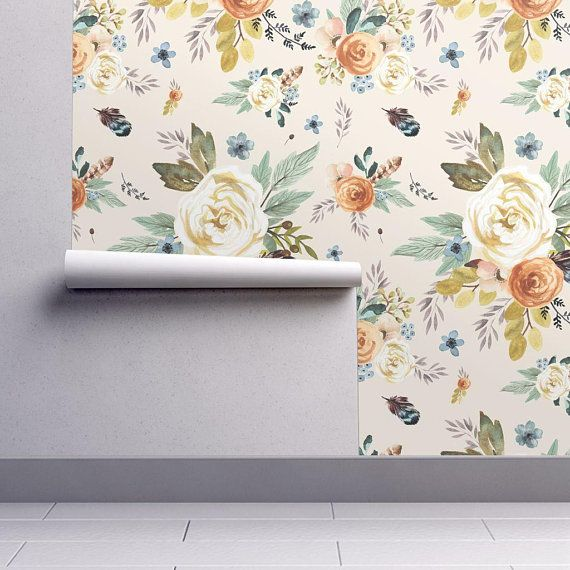 Peel-and-Stick Removable Wallpaper Mustard Yellow Floral Boho Flowers Fall