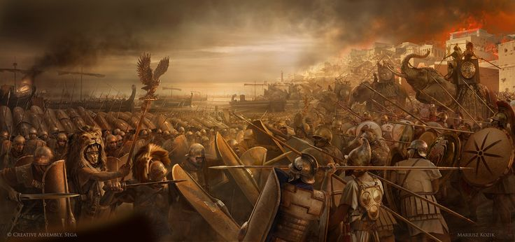 "Siege of Carthage, Scipio Africanus,  Promotional key artwork& loading screen prepared for ""Total War:Rome 2"""