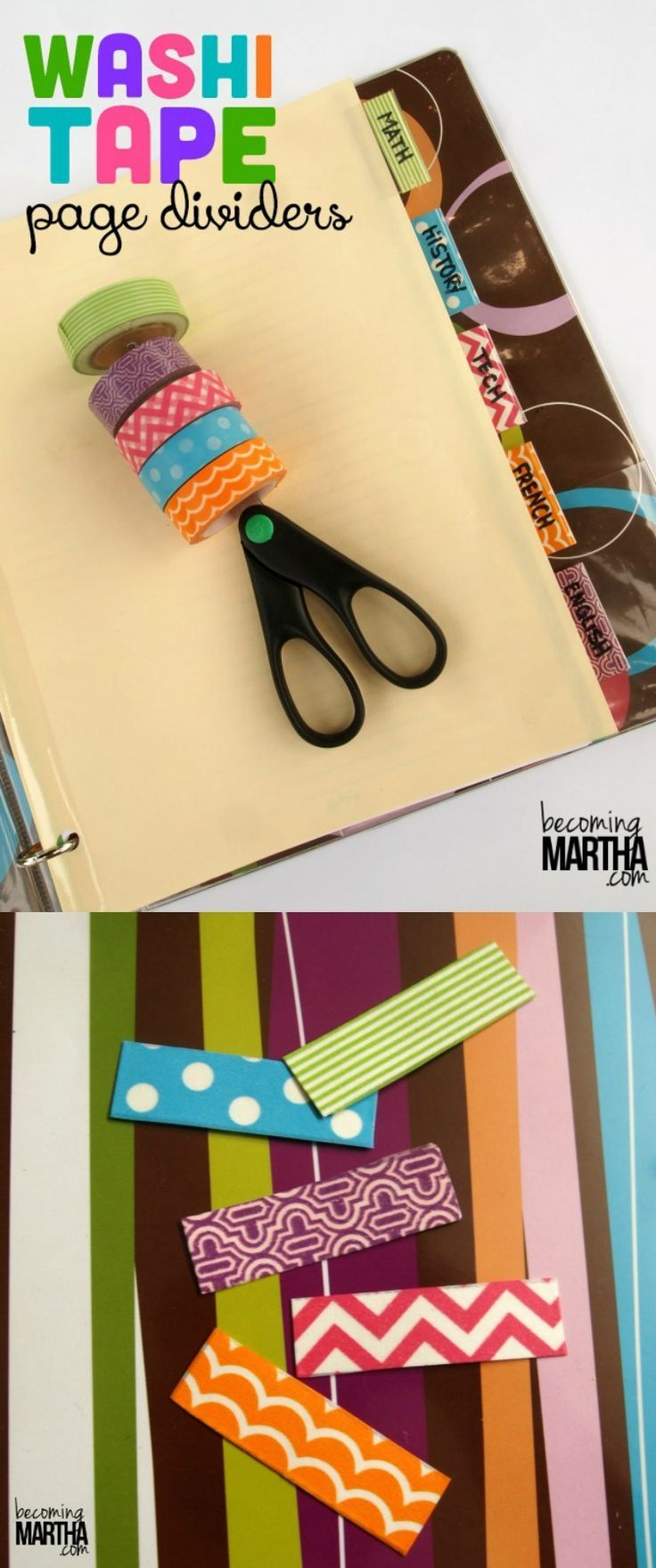 washi tape diy page dividers washi tape tape and create your own. Black Bedroom Furniture Sets. Home Design Ideas