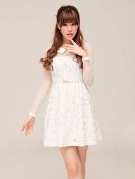 Charming Peter Pan Collar Solid Color Long Sleeve Narrow Waist Lace Dress
