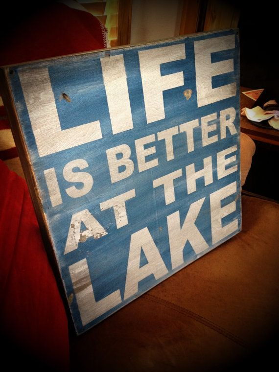 Life is better at the Lake - distressed rustic subway style wood sign - Several colors - for your lake house, cabin, camper $44.00