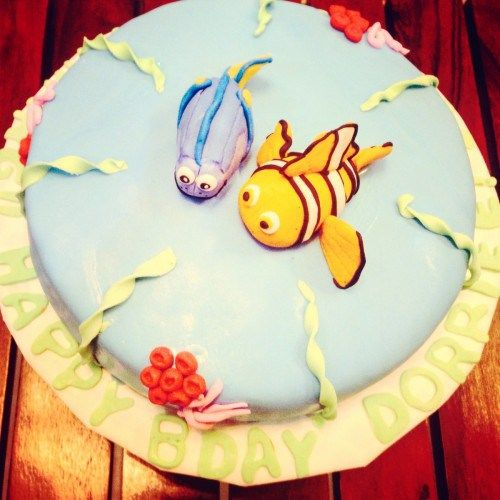 Cartoon Cakes - Finding Nemo Cake | Pastel Blue Fondant Cake with Nemo and Dory | All Things Yummy  #allthingsyummy #finding #nemo #dory #cartoon #cakes