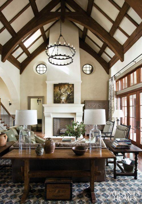 We love the ceiling beams and chandelier!    Designer Barbara Westbrook in Atlanta Homes & Lifestyles.
