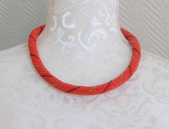 FREE SHIPPING: Red Beaded Crochet Rope Necklace with Spiral