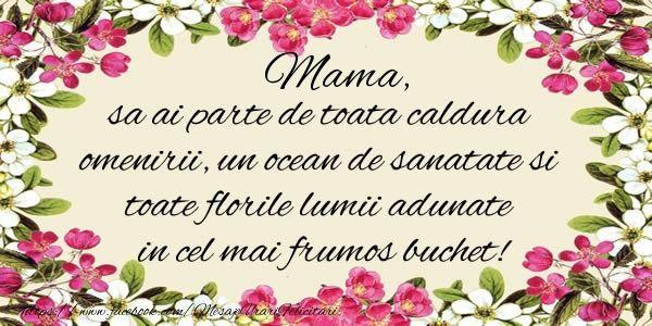 Mama, sa ai parte de toata caldura omenirii, un ocean de sanatate si toate florile lumii adunate in cel mai frumos buchet!