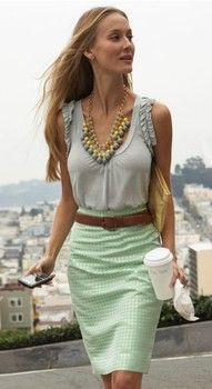 Gray blue top and pastel green gingham pencil skirt with bold necklace. cute professional work outfit