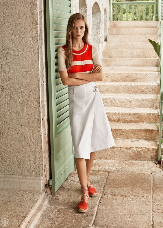 Tory Burch Poppy Sweater, Denise Skirt and Positano Lace-Up Flat Espadrille