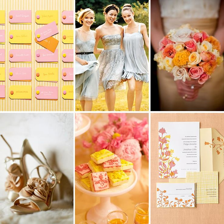 Love adding the pink, Pretty in Pink, Orange, and Yellow – Wedding Inspiration | WeddingWire: The Blog