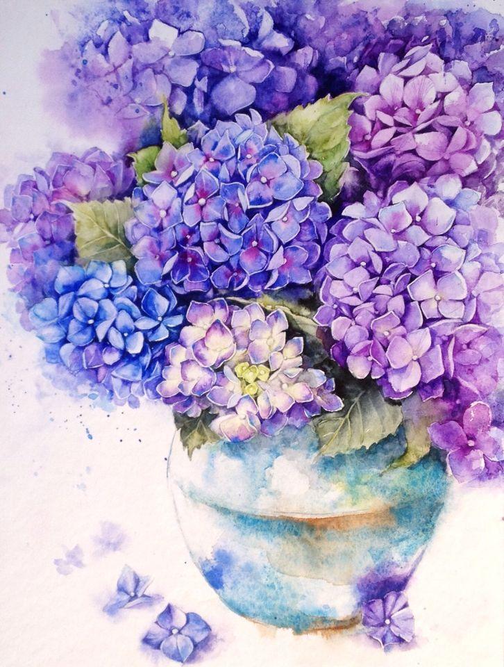 Hydrangea in a pot on behance watercolors 1 pinterest for Peinture shabby chic