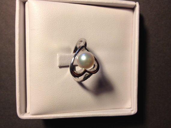 Pearl and Diamond Ring by EMAPRECIOUS on Etsy
