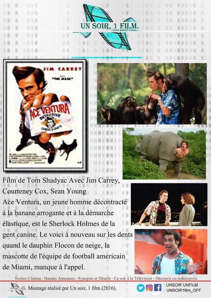 Bande annonce vidéo:  https://youtu.be/CF786Ih2LnM  Titre : Ace Ventura, Détective chiens et chats Durée : 01hr30 Type : Comédie Sortie : 29 Mars 1995  Réalisateur / Acteurs : Tom Shadyac / Jim Carrey, Courteney Cox, Sean Young  Histoire :  Ace Ventura, un jeune homme décontracté à la banane arrogante et à la démarche élastique, est le Sherlock Holmes de la gent canine. Le voici à nouveau sur les dents quand le dauphin Flocon de neige, la mascotte de l'équipe de football americain de Miami…