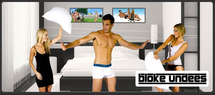 Bloke Undees love a pillow fight. click on  to get your new pair of Bloke Undees