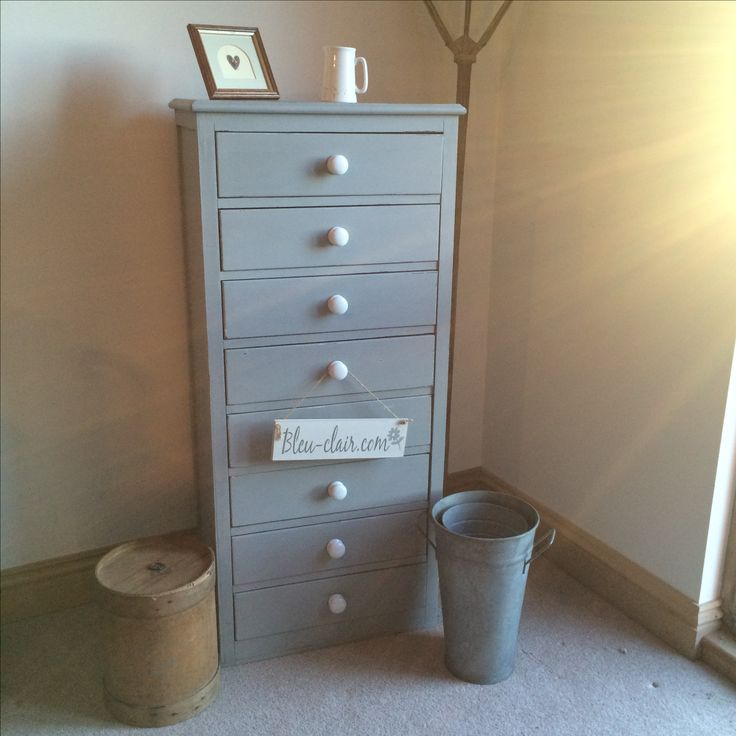 x Sold  x Tall chest of drawers  transformed using Paris Grey!  Original colour was black !!   Available to buy through Jilly, Tilly & Boo at Wellington, Somerset.  x