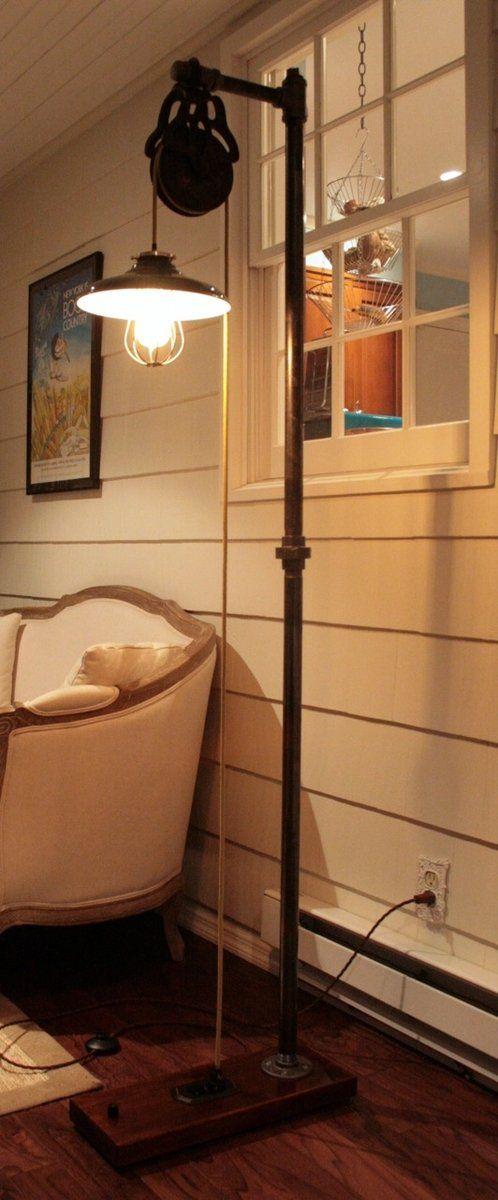 Custom Made Vintage Industrial Floor Lamp - Dark