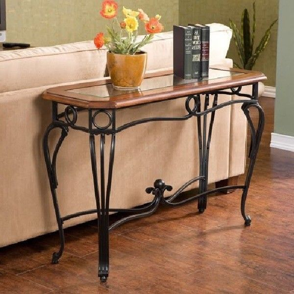 Sofa Table Cherry Metal Glass Wrought Iron Console Foyer Hall