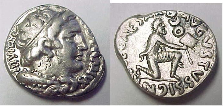 Augustus Denarius. 18 BC, moneyer M Durmius. M DVRMIVS IIIVIR, diademed bust of youthful Hercules right, with lionskin and club / CAESAR AVGVSTVS SIGN RECE, bearded Parthian soldier kneeling right, holding out standard  extending arm in submissive gesture.  Commemorating the return of the Parthian Standards lost at the battle of Carrhae in 53BC.