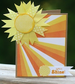 I love this sunshine card!  Great use of ribbon and different colored cardstock.