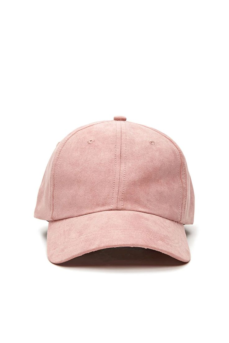 A baseball cap featuring a faux suede design and an adjustable back.