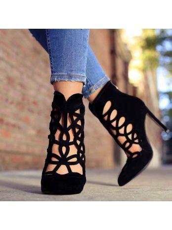 Zapatos de tacón con punta puntiaguda con cremallera Hollow High-Cut Upper Mujer Casual Pumps   – Schuhes