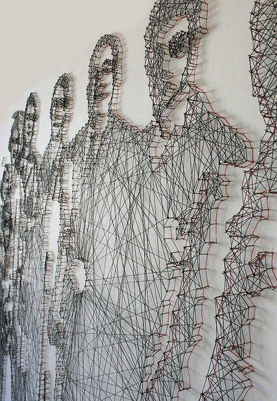 Pamela Campagna and husband Thomas Scheiderbauer - nail and thread art