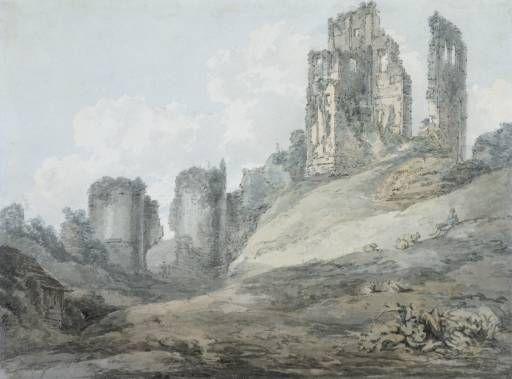 Joseph Mallord William Turner 'Corfe Castle', c.1793 - Watercolour on paper - Dimensions Support: 222 x 286 mm - © Victoria and Albert Museum