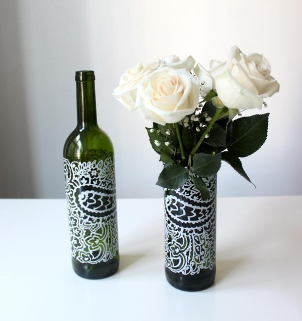 DIY Upcycled Wine Bottle Flower Vases