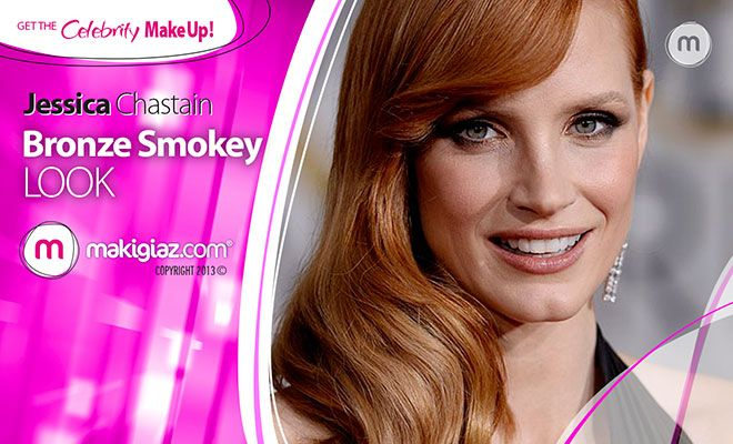 Get the Bronze Smokey look of Jessica Chanstain from Golden Globe Awards. See the products that Makigiaz Com suggests.  English Article http://makigiaz.com/blog/jessica-chanstain-bronze-smokey-en/ Greek Article http://makigiaz.com/blog/jessica-chanstain-bronze-smokey/