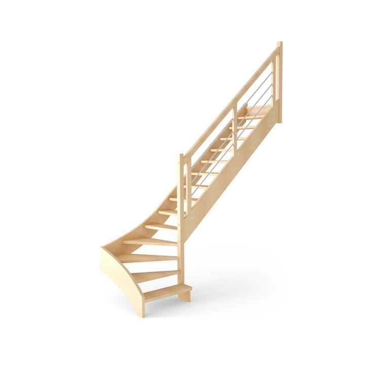 Escalier fouesnant quart tournant en bois 15 marches leroy merlin combles pinterest - Escalier colimacon leroy merlin ...