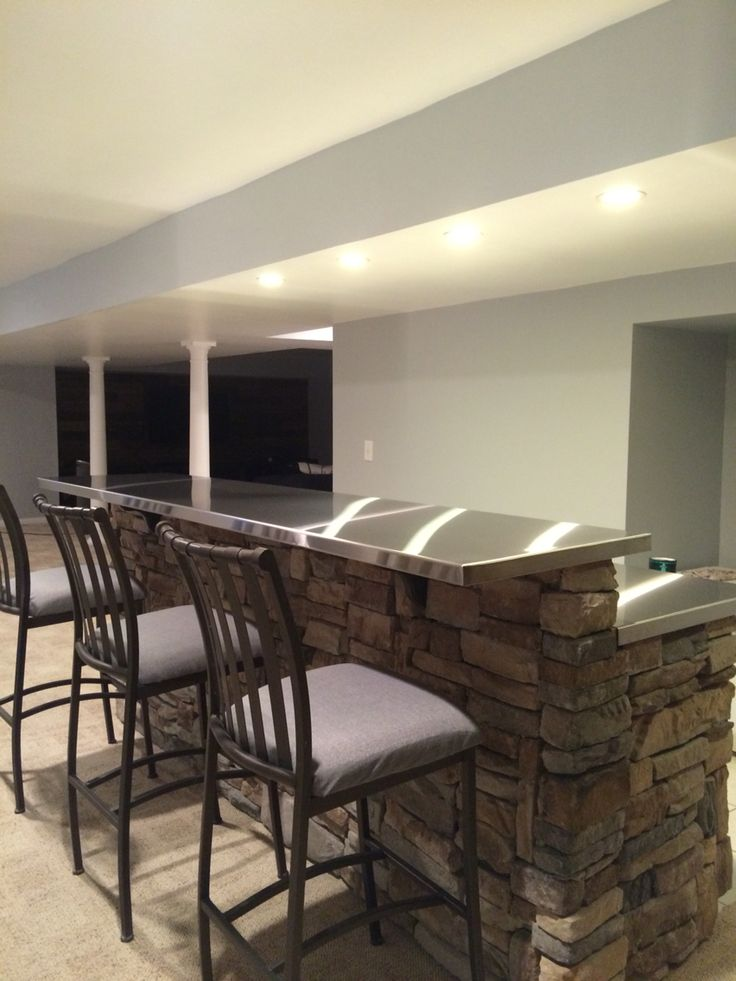 Stainless Steel Bar Tops Basement Remodeling Stainless