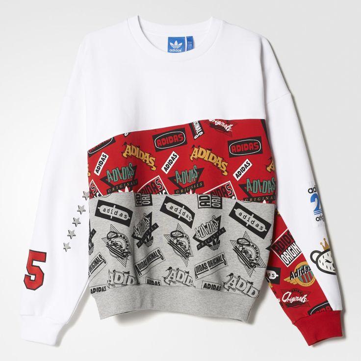 Dit op hiphop geïnspireerde sweatshirt voor heren is ontstaan uit de samenwerking tussen adidas Originals en de Japanse muziekproducent, DJ en streetwear-goeroe Nigo. De herensweater combineert Amerikaanse vintage stijl met urban design-invloeden uit Tokio. Met felle kleuren en graphics in retrostijl: sterrenprint, een '25'-appliqué ('ni go' klinkt als '25' in het Japans) en Nigo's gekroonde beertje, dat hij speciaal voor adidas Originals heeft bedacht.